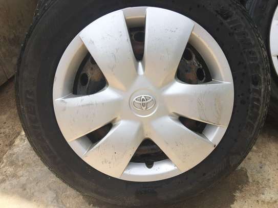 Toyota VITZ - 3 x Hub Caps and 4 x Tyres on Steel Rims image 2