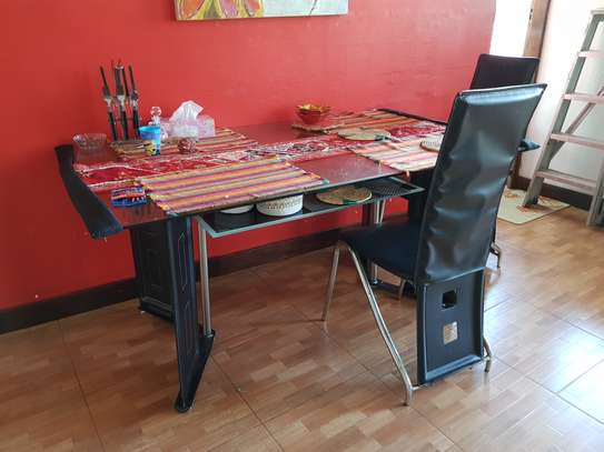 Glass Dining Table with 4 Chairs image 1