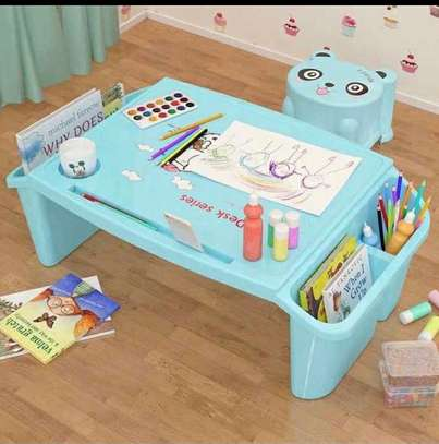 Small Desk on Plastic Bed Writing Desk Children Multifunctional Toy Eating Table image 3