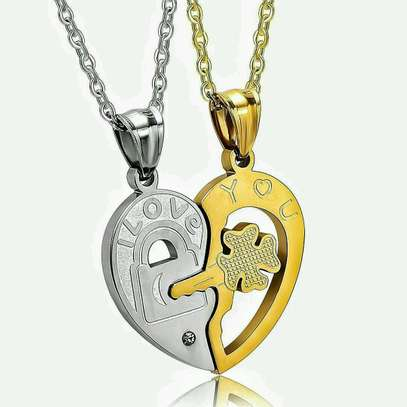 Fate Love Jewelry 93 Fate Love His and Her Heart Key Matching Puzzle Stainless Steel Couples Necklace