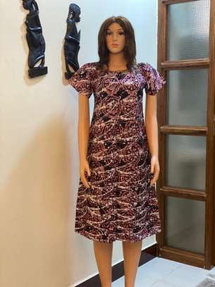 African Batik Dress (Light Pink)
