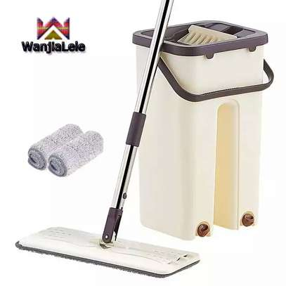 Automatic Squeeze  Scratch Floor Mop with 2PCS rag Cloth for Room,window,ceiling, wall etc. image 1