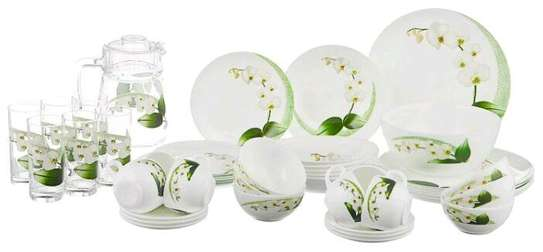LUMINARC DIWALI WHITE ORCHID DINNER SET 47PC With free OG Lunch Box image 1