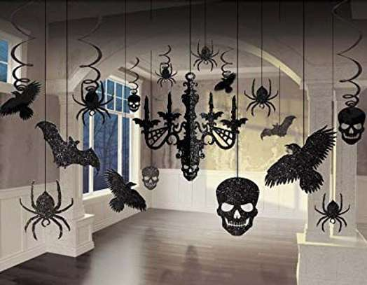 Glitter Haunted House Chandelier Halloween image 1