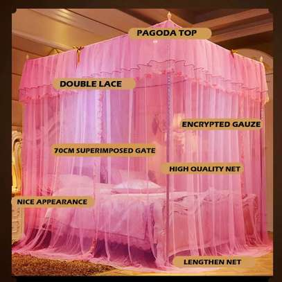 Mosquito Net Three Open Door 1.5m1.8 Meters Double Bed Encryption Stable Bracket Home image 3