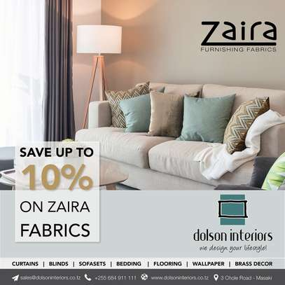 10% Off Zaira Furnishing Fabrics in March 2020