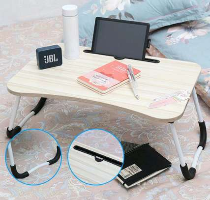 FOLDABLE WOODEN LAPTOP BED TABLE WITH CUP HOLDER & GADGET STAND image 5