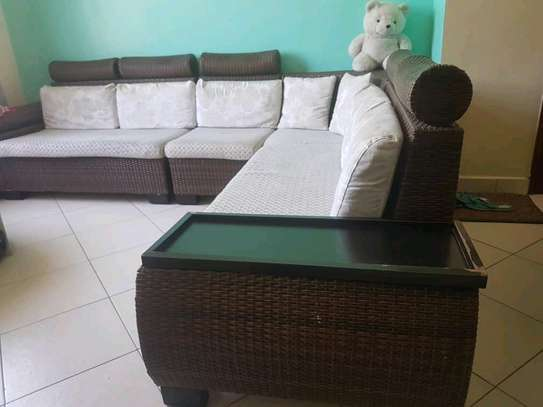 Used L Wood sofa