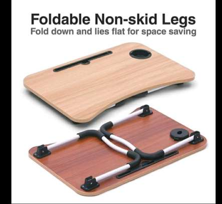 FOLDABLE WOODEN LAPTOP BED TABLE WITH CUP HOLDER & GADGET STAND image 3