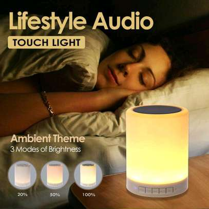 Night Light with Bluetooth Speaker Portable Wireless TF Card Bluetooth Speaker Touch Control Color LED Bedside Table Lamp image 1
