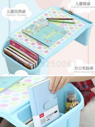 Small Desk on Plastic Bed Writing Desk Children Multifunctional Toy Eating Table image 5