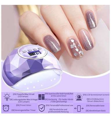 86W Nail Dryer Lamp, UV LED Gel Nail Lamp, Professional LED Nail Dryer Nail Lamp, with 4 Timers, for Nail Art Manicure/Pedicure image 2