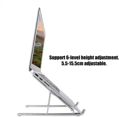 N3 Adjustable Laptop Bracket Holder Stand Support 6-Level Height Adjustment,Foldable Notebook Stand Computer Holder with Silicone Non-Slip Pad (Silver) image 3