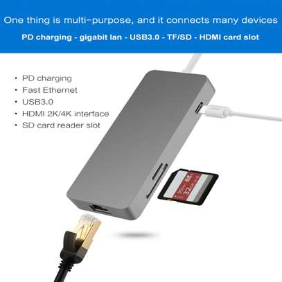 Portable 7 in 1 USB-c Hub Type-c to HDMI/2XUSB3.0/Ethernet/SD/TF Adapter image 3