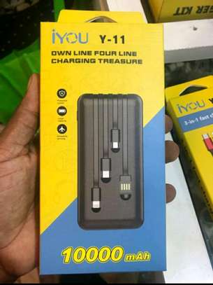 Original power bank with 3 usb cables type c, iphone and micro USB with guarantee image 1