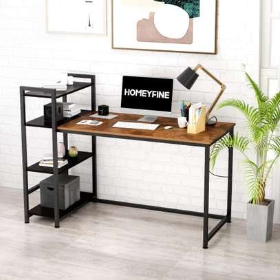 Computer Desk with Shelves,Industrial Table,47 inches Home Office Desk with Metal and Wood Bookshelf image 2