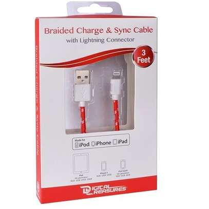 DIGITAL TREASURES Braided Charge & Sync Lightning Cable (3′, Red & White)