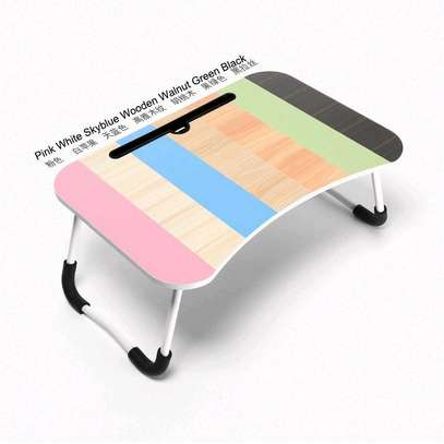 FOLDABLE WOODEN LAPTOP BED TABLE WITH CUP HOLDER & GADGET STAND image 7