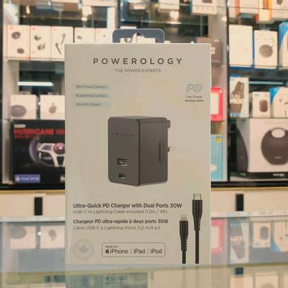 Powerology Dual Port Wall Charger 30W USB with Type-C to Lighnting Cable image 1