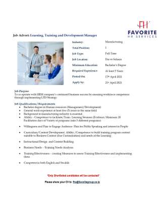 Learning, Training and Development Manager image 1