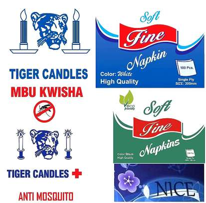 { TIGER CANDLES } { SOFT FINE NAPKINS & ECO NAPKINS }  { NICE TISSUES }