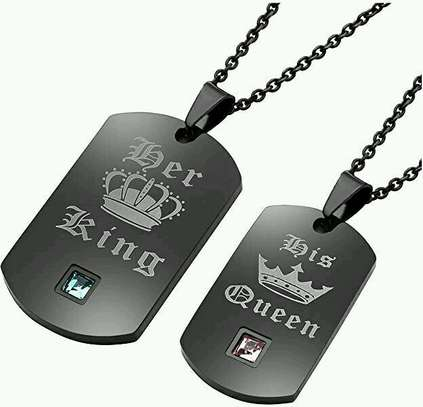 Black Her King His Queen Necklace For Couple