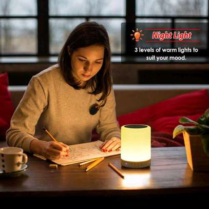 Night Light with Bluetooth Speaker Portable Wireless TF Card Bluetooth Speaker Touch Control Color LED Bedside Table Lamp image 2