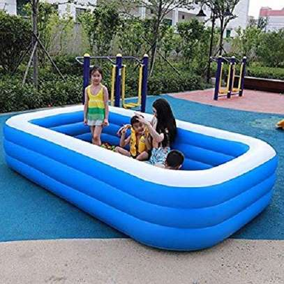 Largest Family Inflantable PVC Swimming Pool(cm 255*180*80)-With Air Compressor image 1