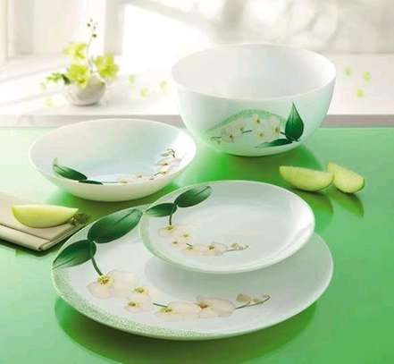 LUMINARC DIWALI WHITE ORCHID DINNER SET 47PC With free OG Lunch Box image 2