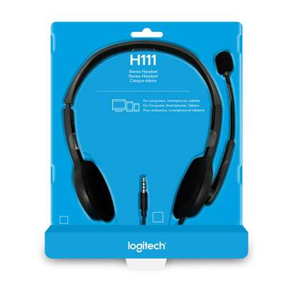 Logitech H111 Wired Headset, Stereo Headphones with Noise-Cancelling Microphone, 3.5 mm Audio Jack, PC/Mac/Laptop/Smartphone/Tablet - Black image 6