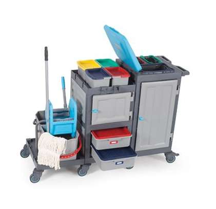 Cleaning Trolley with Double Mop Buckets