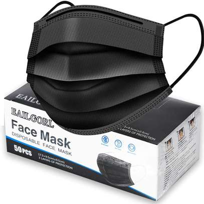 Face Mask Black, Disposable Face Masks, 3 Layer Design Protection Breathable Face Masks with Elastic earband image 1