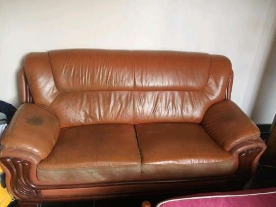 Leather sofa double