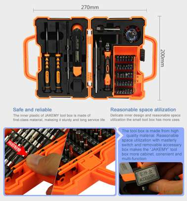JAKEMY JM-8139 45 in 1 Screwdriver Set with Knives/Tweezers/Spudger/Suction Cup toolkit image 2