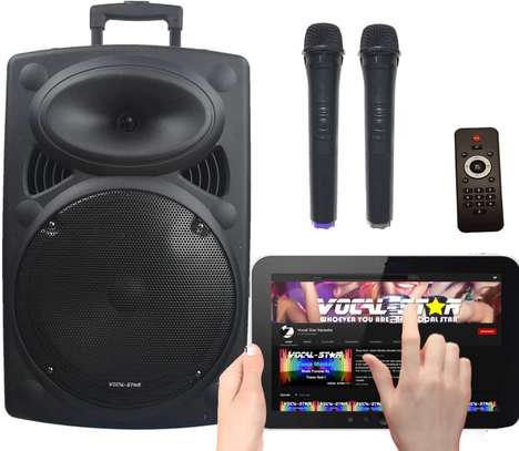 """Portable PA Speaker System, Bluetooth, MP3, 300w 12"""" Woofer & 2 Wireless Microphones image 1"""