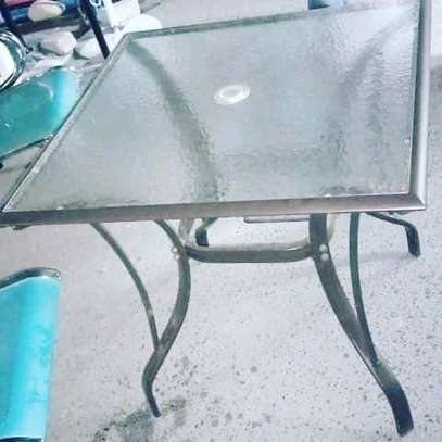 Square Glass Top Steel Dining Table....165,000/= image 1