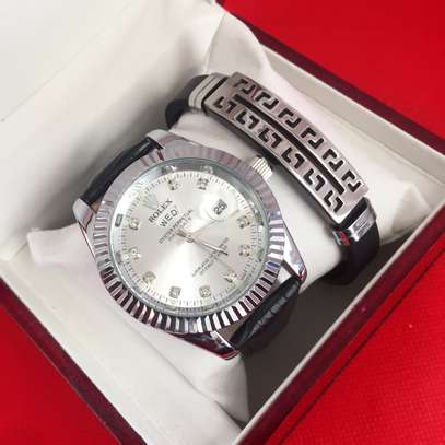 Silver Leather Watch image 1