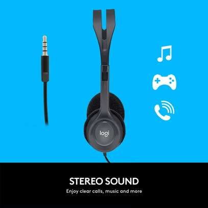 Logitech H111 Wired Headset, Stereo Headphones with Noise-Cancelling Microphone, 3.5 mm Audio Jack, PC/Mac/Laptop/Smartphone/Tablet - Black image 3