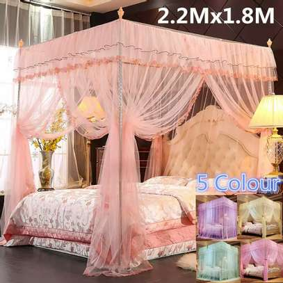 Mosquito Net Three Open Door 1.5m1.8 Meters Double Bed Encryption Stable Bracket Home image 1