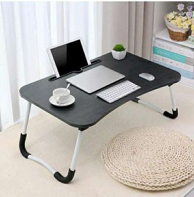 FOLDABLE WOODEN LAPTOP BED TABLE WITH CUP HOLDER & GADGET STAND image 1