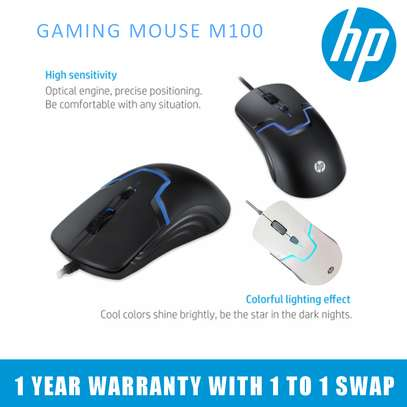HP M100 USB Wired Gaming Optical Mouse 1600DPI 7 Color LED image 1