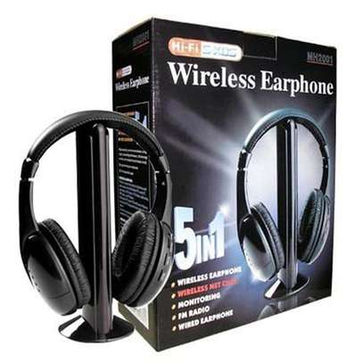 MH2001 5-in-1 Wireless Headphones w/Microphone Emitter & FM Radio image 1