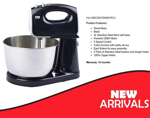 VON HOTPOINT Stand Mixer with 4L Stainless Steel Bowl  300W