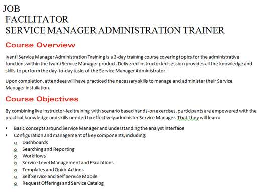 IVANTI SERVICE MANAGER SOFTWARE ADMINISTRATION FACILITATOR