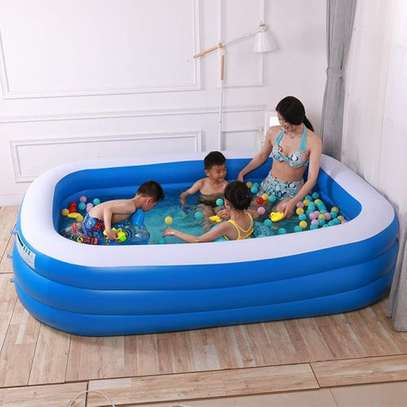 Largest Family Inflantable PVC Swimming Pool(cm 255*180*80)-With Air Compressor image 2