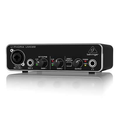 STUDIO EQUIPMENTS (Behringer UMC22 U-Phoria USB Audio Interface for Computer Recording Studio) image 3