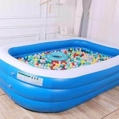 Largest Family Inflantable PVC Swimming Pool(cm 255*180*80)-With Air Compressor image 3