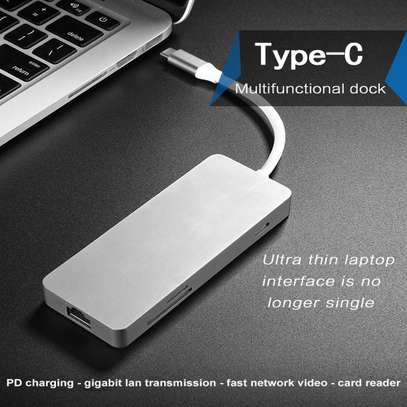 Portable 7 in 1 USB-c Hub Type-c to HDMI/2XUSB3.0/Ethernet/SD/TF Adapter image 4