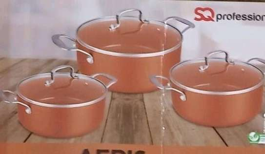 3PCS NON-STICK COPPER CASSEROLE SET. image 2