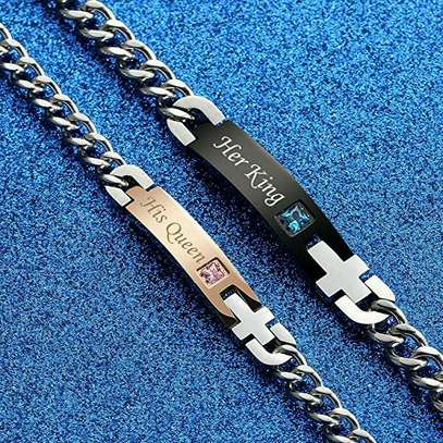 His Queen Her King Titanium Stainless Steel Couple Bracelet